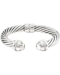 David Yurman - David Yurman Cable 18k & Silver 0.48 Ct. Tw. Diamond Cuff Bracelet - Lyst