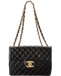 Chanel - Black Lambskin Leather Chevron Maxi Single Flap Bag - Lyst