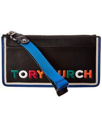 Tory Burch - Perry Colorblocked Leather Wristlet - Lyst