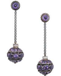 David Yurman - David Yurman Silver 16.08 Ct. Tw. Diamond & Amethyst Earrings - Lyst