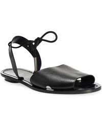 b58881e68b939 Lyst - Balenciaga Studded Leather T-strap Sandal in Metallic