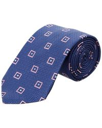 Ike Behar - Navy Squares Silk Tie - Lyst