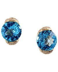 Effy - Fine Jewellery 14k 7.39 Ct. Tw. Diamond & Blue Topatz Drop Earrings - Lyst