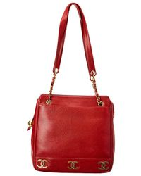 Chanel - Red Caviar Leather Medium 3cc Tote - Lyst