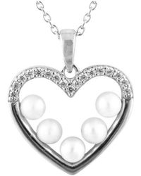Splendid - Rhodium Plated Silver 3-4mm Pearl Heart Necklace - Lyst