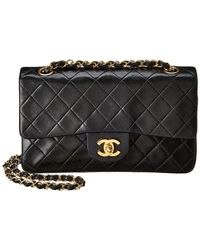 Chanel - Black Quilted Lambskin Leather Small Double Flap Bag - Lyst