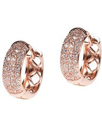 CZ by Kenneth Jay Lane - Rose Gold Plated Hoops - Lyst