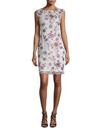Donna Ricco - Embroidered Mesh Sheath Dress - Lyst