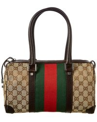 Gucci - Brown GG Canvas & Leather Web Boston Bag - Lyst