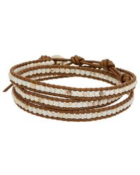 Chan Luu - Silver Magnesite Leather Wrap Bracelet - Lyst