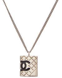 Chanel - Silver-tone & Black Cambon Necklace - Lyst