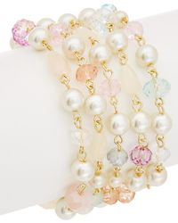 Carolee - Garden Party Rose Quartz Flex Bracelet - Lyst