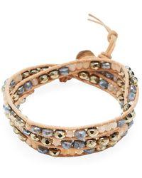 Chan Luu - Sunstone, Titanium Pyrite, Mystic Lab, Leather & Silver Bracelet - Lyst
