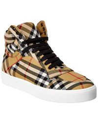 Burberry - Vintage House Check Leather High-top Sneaker - Lyst