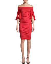 Nicole Miller - Artelier Georgette Combo Off-the-shoulder Dress - Lyst