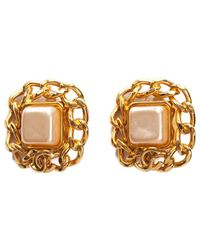 Chanel - Gold-tone Faux Pearl Chain Link Square Earrings - Lyst