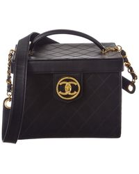b67d0e625c962b Chanel - Black Quilted Calfskin Leather Large Vanity Cosmetic Case - Lyst