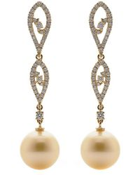 Tara Pearls - 18k 0.65 Ct. Tw. Diamond & 10-11mm South Sea Pearl Long Earrings - Lyst