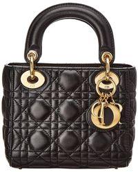 Dior - Black Lambskin Leather Small Lady Dior - Lyst
