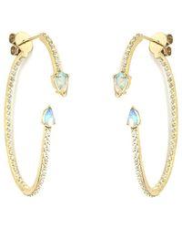 Paige Novick - 18k 0.92 Ct. Tw. Diamond & Opal Earrings - Lyst