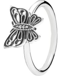 PANDORA - Love Takes Flight Silver Cz Butterfly Ring - Lyst