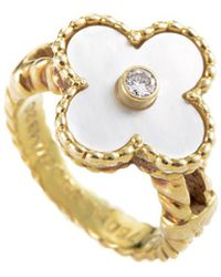 Heritage - Van Cleef & Arpels 18k Yellow Gold, Mother-of-pearl & Pearl Ring - Lyst