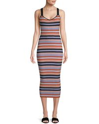 Torn By Ronny Kobo - Yaela Striped Midi Dress - Lyst