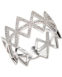 EF Collection 14k White Gold Spiked Diamond Ring