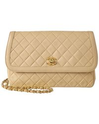 Chanel - Beige Quilted Lambskin Leather Medium Border Flap Bag - Lyst