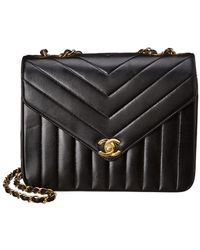 5fe0a02bce Chanel - Black Lambskin Chevron Quilted Leather Small Envelope Single Flap  Bag - Lyst