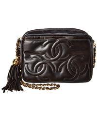 Chanel - Black Lambskin Leather 3 Cc Medium Camera Bag - Lyst