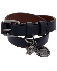 Alexander McQueen - Skull Charm Leather Double Wrap Bracelet - Lyst