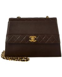 cd364e383c2 Lyst - Chanel Pre-owned Quilted Lambskin Leather Flap Bag in Gray