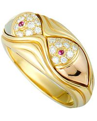 BVLGARI - Bulgari 18k Tri-tone Diamond & Ruby Ring - Lyst