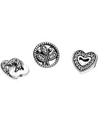 PANDORA - Silver Cz Love & Family Set Of Three For Petite Locket - Lyst