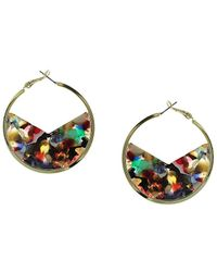 Sparkling Sage - 14k Plated Resin Hoops - Lyst
