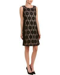 Nine West Medalion Lace Jersey Combo Sleeveless Dress - Black