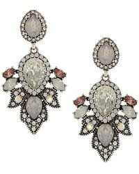 Sparkling Sage - Silver Plated Crystal Drop Earrings - Lyst