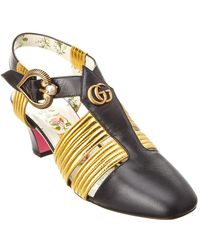 239ee55d52f Gucci - Mid Heel T-strap Leather Sandal - Lyst