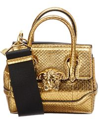 b84e8d194493 Lyst - Versace Palazzo Empire Large Leather Satchel in Black
