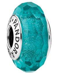 PANDORA - Silver & Teal Murano Glass Charm - Lyst