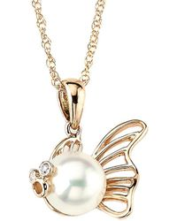 Samuel B Fine Jewelry - Samuel B. Fine Jewelry 14k Rose Gold Diamond & 1.2mm Pearl Fish Pendant Necklace - Lyst