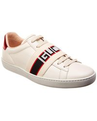 Gucci - New Ace Stripe Leather Trainer - Lyst