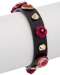 Betsey Johnson - Roses Cz & Leather Wrap Bracelet - Lyst