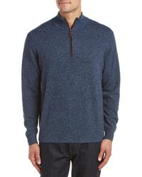 Forte - Cashmere 1/4-zip Suede Trim Cashmere Mockneck Sweater - Lyst