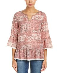 Mystree - Printed Trumpet Sleeve Top - Lyst