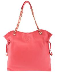 4c17add2631 Lyst - Tory Burch Marion Straw   Leather Tote in Red