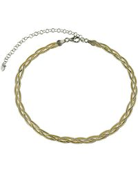 Argento Vivo - 18k Over Silver Braided Herring Bone Choker Necklace - Lyst