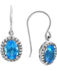 Effy - Fine Jewellery 14k 2.07 Ct. Tw. Diamond & Blue Topatz Drop Earrings - Lyst