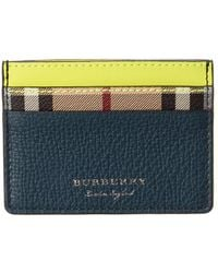 Burberry Haymarket Check & Two-tone Leather Card Case - Blue